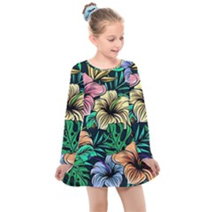 Hibiscus Dream Kids  Long Sleeve Dress