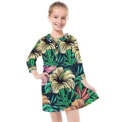 Hibiscus Dream Kids  Quarter Sleeve Shirt Dress