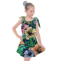 Hibiscus Dream Kids  Tie Up Tunic Dress