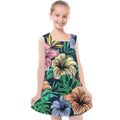 Hibiscus Dream Kids  Cross Back Dress