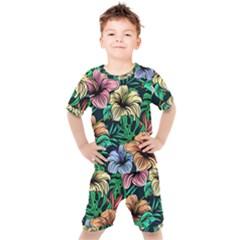 Hibiscus Dream Kids  Tee And Shorts Set