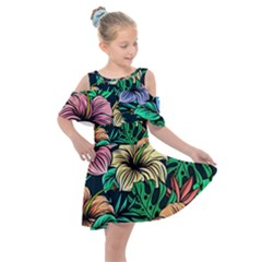 Hibiscus Dream Kids  Shoulder Cutout Chiffon Dress