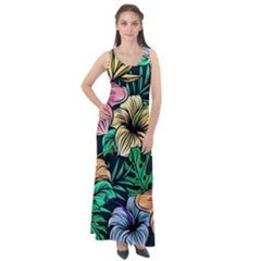 Hibiscus Dream Sleeveless Velour Maxi Dress