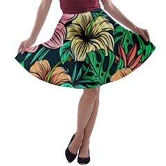Hibiscus Dream A-line Skater Skirt