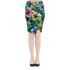 Hibiscus Dream Midi Wrap Pencil Skirt