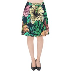 Hibiscus Dream Velvet High Waist Skirt