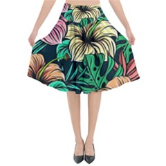 Hibiscus Dream Flared Midi Skirt