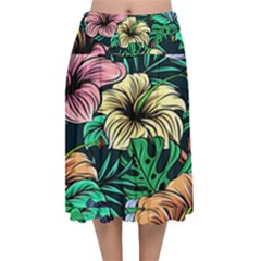 Hibiscus Dream Velvet Flared Midi Skirt