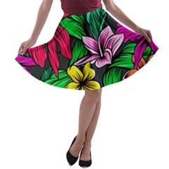 Neon Hibiscus A Line Skater Skirt