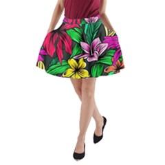 Neon Hibiscus A Line Pocket Skirt