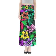 Neon Hibiscus Full Length Maxi Skirt