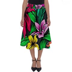 Neon Hibiscus Perfect Length Midi Skirt
