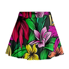Neon Hibiscus Mini Flare Skirt