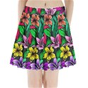 Neon Hibiscus Pleated Mini Skirt View1