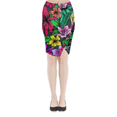 Neon Hibiscus Midi Wrap Pencil Skirt