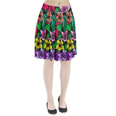 Neon Hibiscus Pleated Skirt