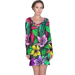 Neon Hibiscus Long Sleeve Nightdress