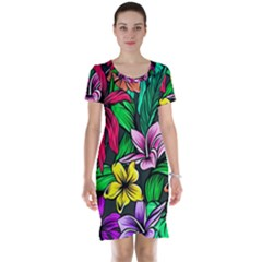 Neon Hibiscus Short Sleeve Nightdress