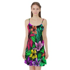 Neon Hibiscus Satin Night Slip