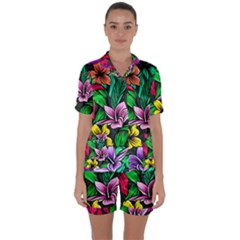Neon Hibiscus Satin Short Sleeve Pyjamas Set