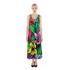 Neon Hibiscus Sleeveless Maxi Dress