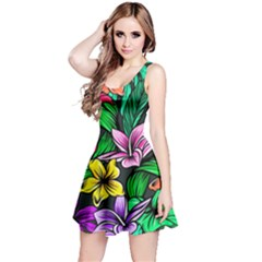 Neon Hibiscus Reversible Sleeveless Dress