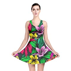 Neon Hibiscus Reversible Skater Dress