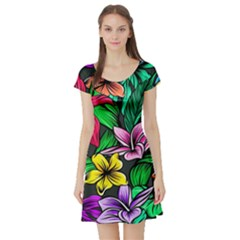 Neon Hibiscus Short Sleeve Skater Dress