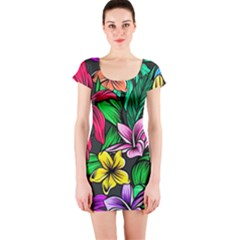 Neon Hibiscus Short Sleeve Bodycon Dress