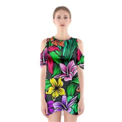 Neon Hibiscus Shoulder Cutout One Piece Dress
