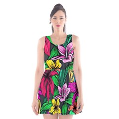 Neon Hibiscus Scoop Neck Skater Dress