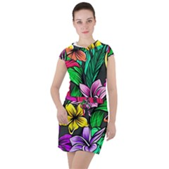 Neon Hibiscus Drawstring Hooded Dress