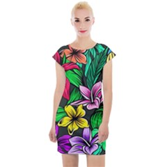 Neon Hibiscus Cap Sleeve Bodycon Dress