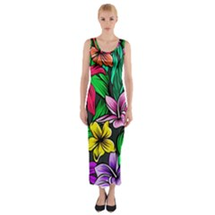 Neon Hibiscus Fitted Maxi Dress