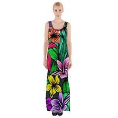 Neon Hibiscus Maxi Thigh Split Dress
