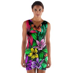 Neon Hibiscus Wrap Front Bodycon Dress