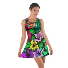 Neon Hibiscus Cotton Racerback Dress