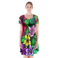 Neon Hibiscus Short Sleeve V Neck Flare Dress