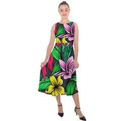 Neon Hibiscus Midi Tie Back Chiffon Dress