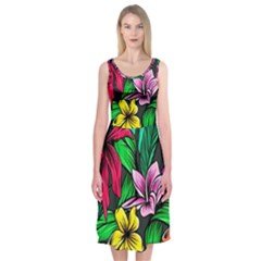 Neon Hibiscus Midi Sleeveless Dress