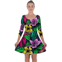 Neon Hibiscus Quarter Sleeve Skater Dress