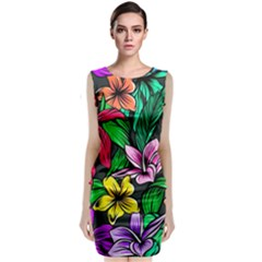 Neon Hibiscus Classic Sleeveless Midi Dress
