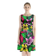 Neon Hibiscus Sleeveless Waist Tie Chiffon Dress