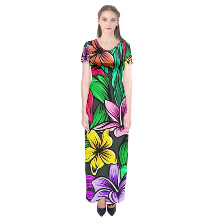 Neon Hibiscus Short Sleeve Maxi Dress