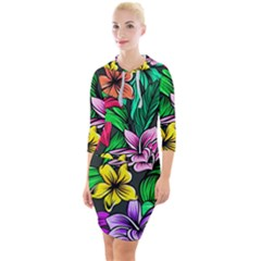 Neon Hibiscus Quarter Sleeve Hood Bodycon Dress by retrotoomoderndesigns