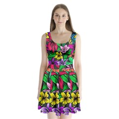 Neon Hibiscus Split Back Mini Dress