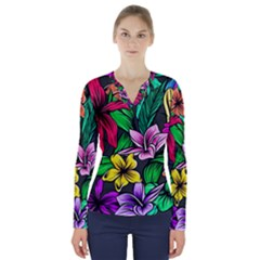 Neon Hibiscus V Neck Long Sleeve Top