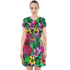 Neon Hibiscus Adorable In Chiffon Dress