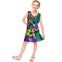 Neon Hibiscus Kids  Tunic Dress