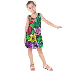 Neon Hibiscus Kids  Sleeveless Dress